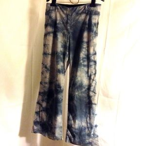 J Crew Blue Grey Tye Dye Wide Leg Bell Pants